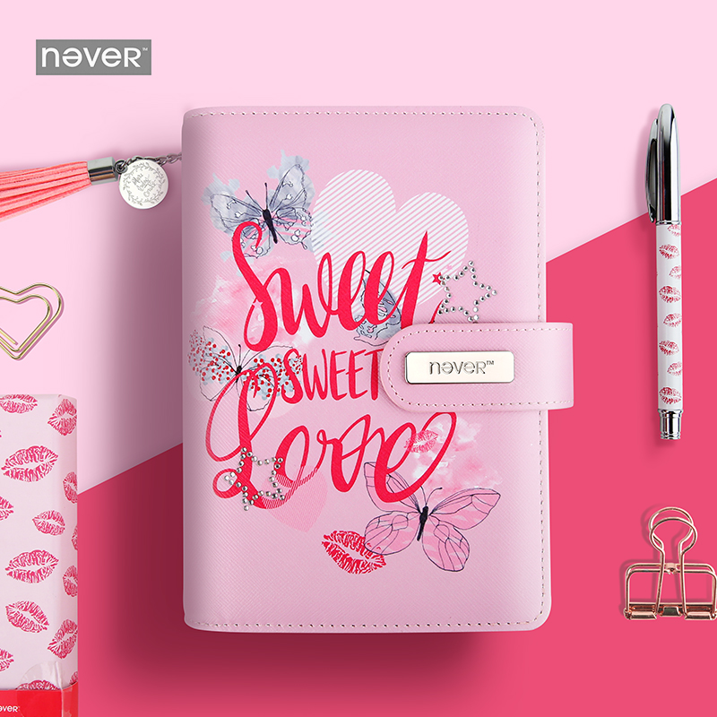 NEVER Sweet pink diary A6 Spiral notebook agenda 2018 personal weekly planner Chancellory school supplies korean gift stationery rights of the game notebook gift diary note book agenda planner material escolar caderno office stationery supplies gt105