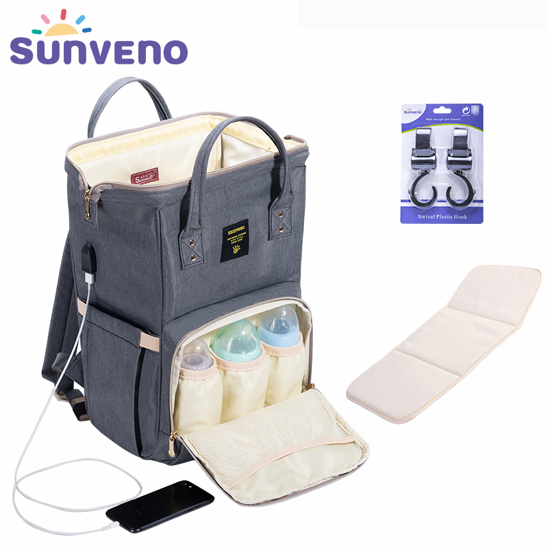 сумка для малыша на прогулку - SUNVENO Fashion Mummy Maternity Diaper Bag Large Nursing Bag Travel Backpack Designer Stroller Baby Bag Baby Care Nappy Backpack
