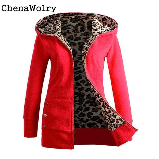 Высокое Качество Новая Мода Осень Зима Пальто Женщин Плюс Бархат Утолщенной Свитер С Капюшоном Leopard Пальто Молния Бесплатная Доставка 28 Октября