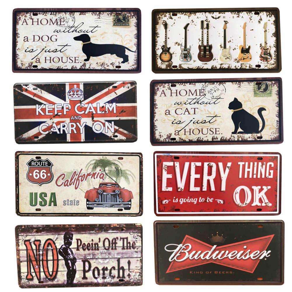 زيت المحركات البلاك خمر راية معدنية علامات المنزل بار حانة المرآب القط الكلب الزخرفية لوحات الحديد ملصقات جدار ملصق فني