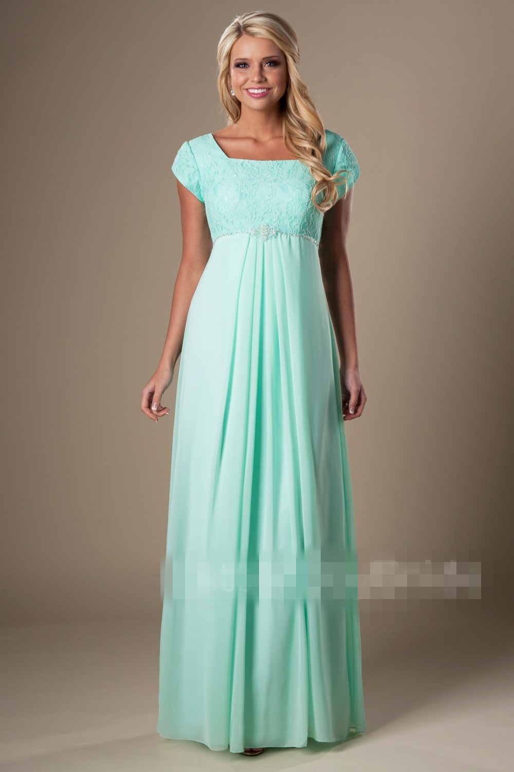 Mint Maternity Modest Bridesmaid Dresses With Sleeves Long  Lace Chiffon A-line Empire Waist Dresses For Pregnant Women Custom