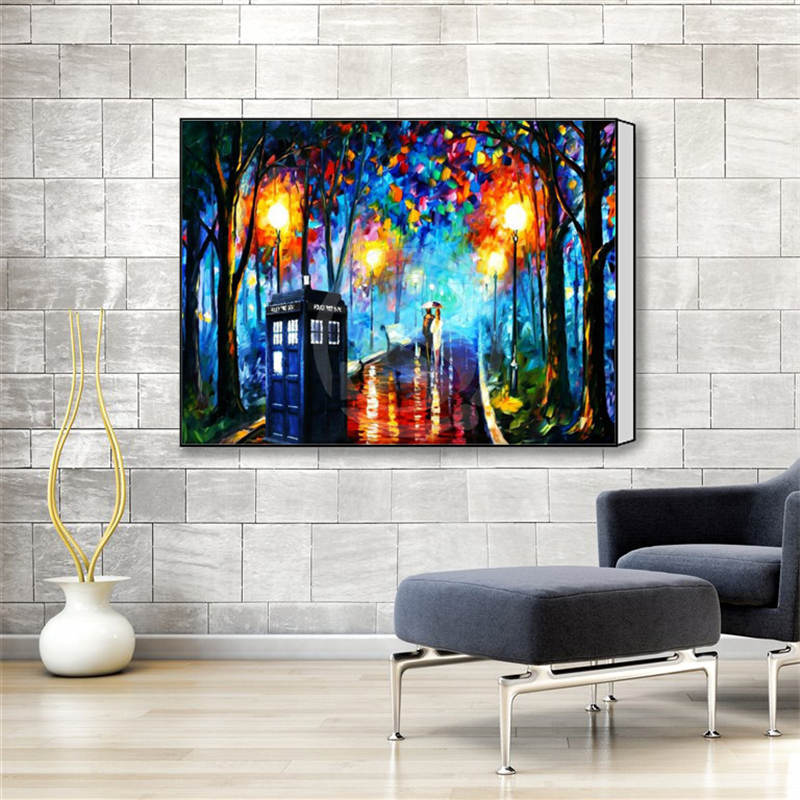 w530f2 custom doctor who colorful building tree classic canvas prints realistic diy oil painting fabric printed