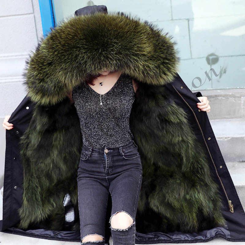 אתל אנדרסון נשים X-ארוך דביבון פרווה צווארון סלעית מעיל מעיילים להאריך ימים יותר להסרה צבא ירוק 3 סגנון פרווה בטנה חורף מעיל