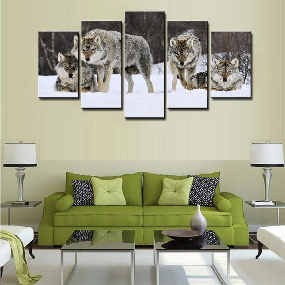 Rahmen HD Gedruckt 5 Stück Moderne Leinwand Kunst Wolf Pack Schnee - Wohnkultur