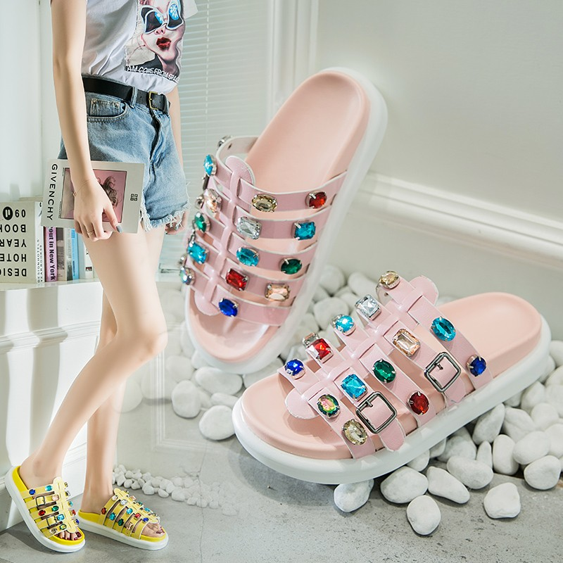 2019New Spring Summer Round Toe Pu Leather Belt Buckle Colorful Crystal Hollow Out Flat Slippers Women Fashion Tide