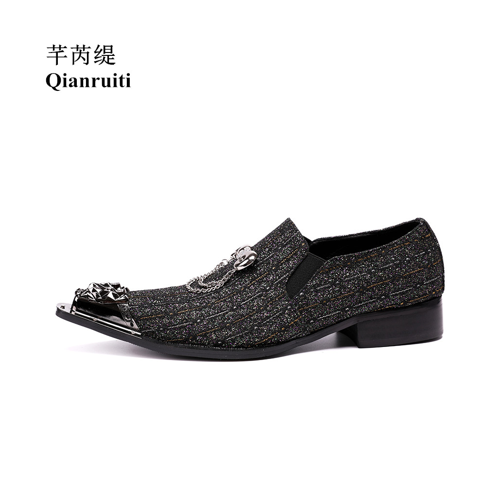 Qianruiti Men Slip-on Loafers Metal Toe Lion Head Business Wedding Oxfords Silver Chain High Quality Men Dress Shoe EU39-EU46 qianruiti men alligator gold loafers metal toe business wedding oxfords high quality lace up slippers men dress shoe eu39 eu46
