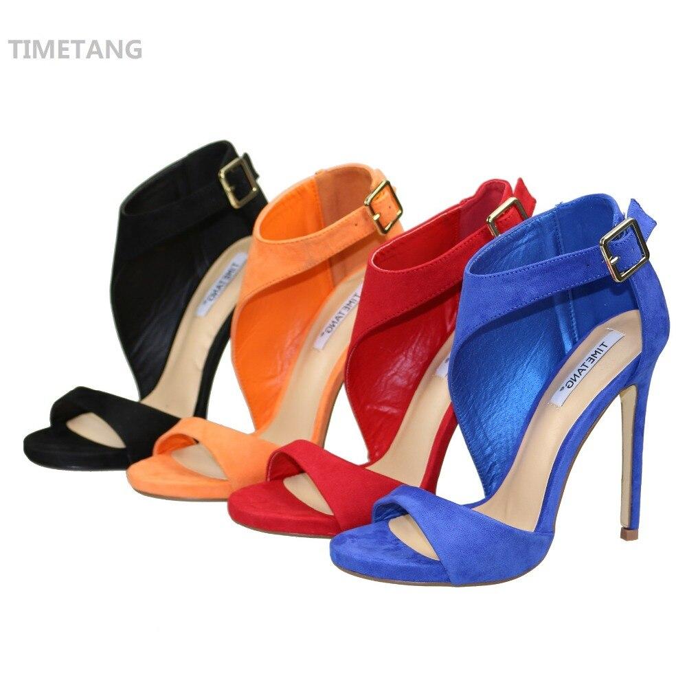 Ingyenes szállítás 2016 vadonatúj nyári nők nyílt lábujj csat szandál vékony magas sarkú divat fekete / piros kivágott nagy méret 5,5-11
