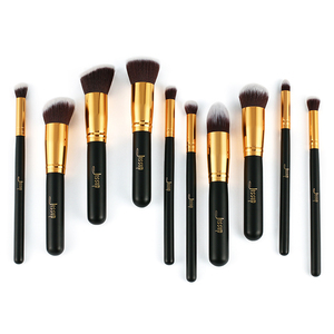 Image 5 - Jessup di Marca 10pcs Nero/Oro Spazzole di Trucco pennelli di Bellezza Prodotti di base Kabuki Cosmetici set di pennelli Trucco Trucco set blush Kit strumenti