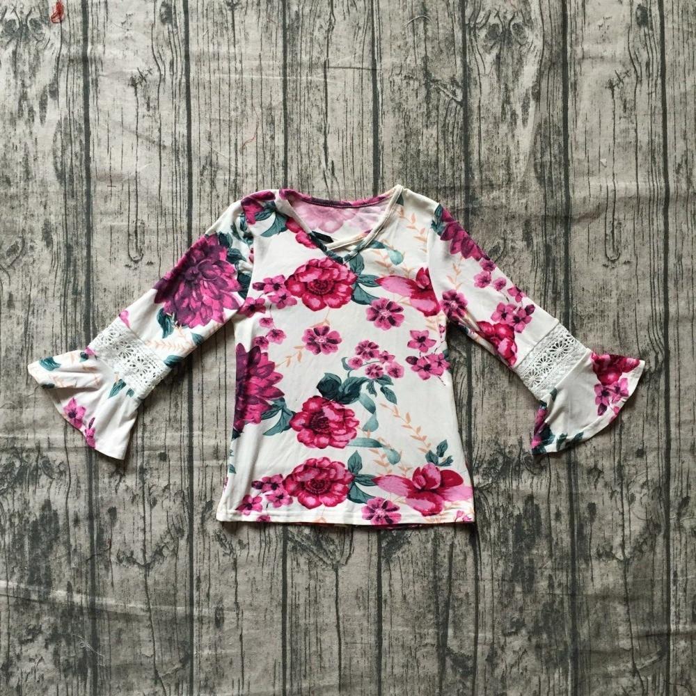 Kleidung Sets Hell Neue Herbst/winter Baby Mädchen Kinder Kleidung Boutique Milch Seide Baumwolle Top T-shirt Raglans Langarm Heißer Rosa Weiß Floral Spitze