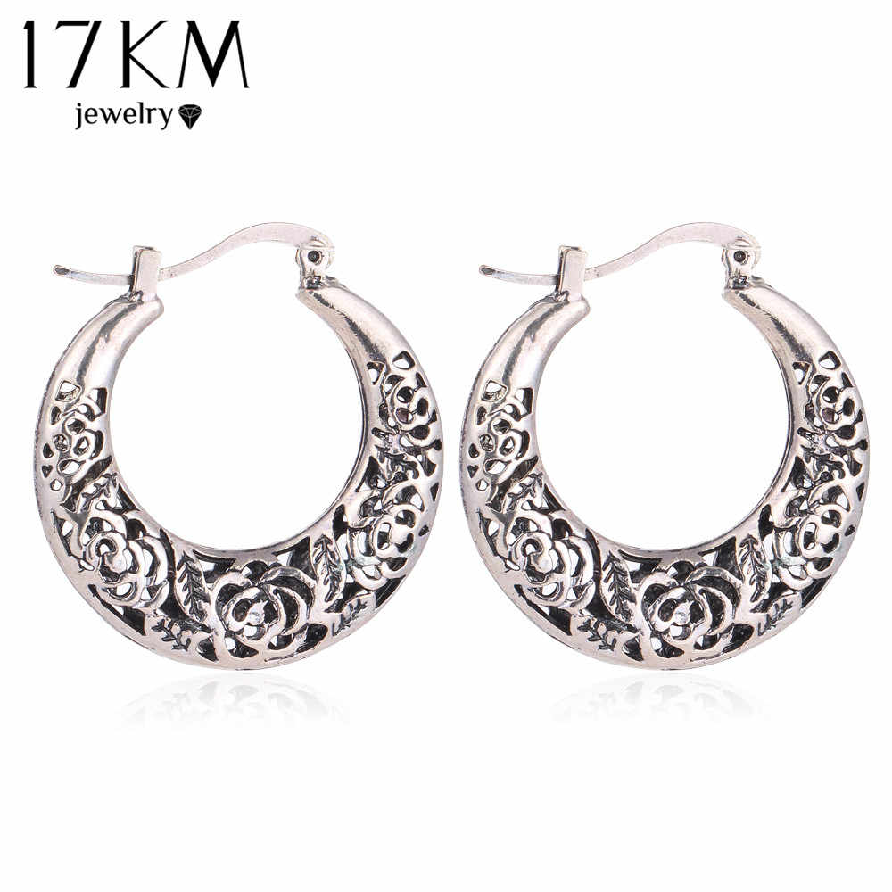 17KM Vintage Jewelry Hollow out Flower Earring for Women Tibetan Antique Silver Color  Bohemian Charm Dangle Long Accessories