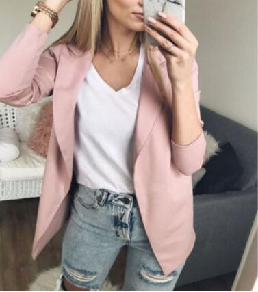 2019 women jackets Suit Casual Long Sleeve Open Office female jacket Cardigan Slim Coat Small