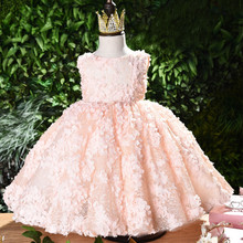 2018 Baby Summer Dress Pink Lace Toddler Girls Christening Dress Appliques Baby Girl Birthday Baptism Dress Princess costume