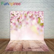 Funnytree Primavera bokeh fundo da árvore de flores rosa photocall de pranchas de madeira fundo fotográfico fundo decorações para casa
