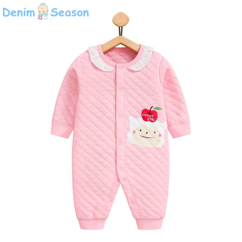 Denim Season 0-24m Newborn Baby Clothes Cotton Cute Baby Girl Romper Warm Jumpsuit Navidad Baby Winter Rompers Onesie Jumpsuit