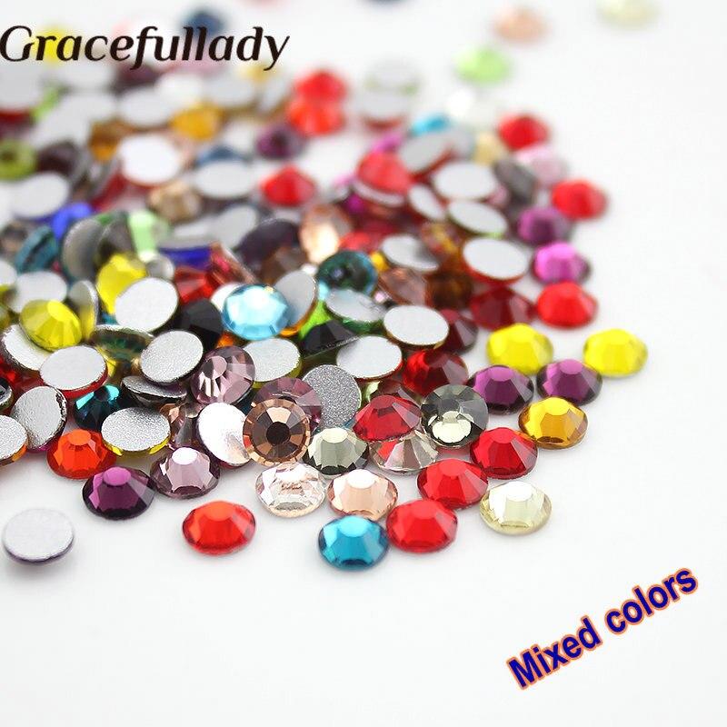 """""""Colour"""" spalvos nagų kristalų akmenys 3D nagų meno dekoravimui"""