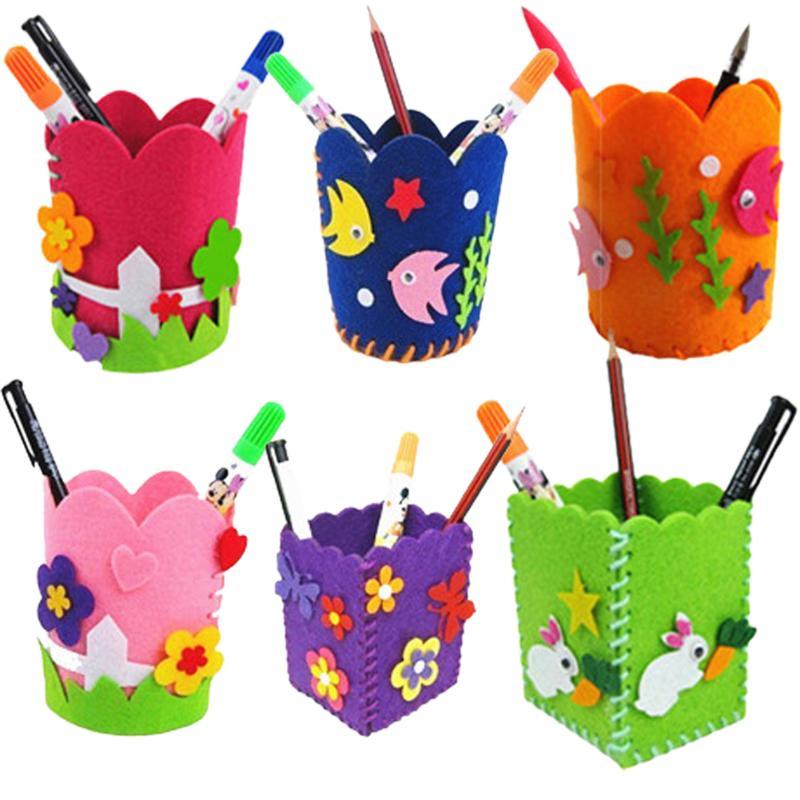 Kleurrijke Leuke Creatieve Handgemaakte Pen Container Diy Potlood Houder Kids Ambachtelijke Speelgoed Kits Hand Werk Training Educatief Kinderen Gift Zacht En Licht