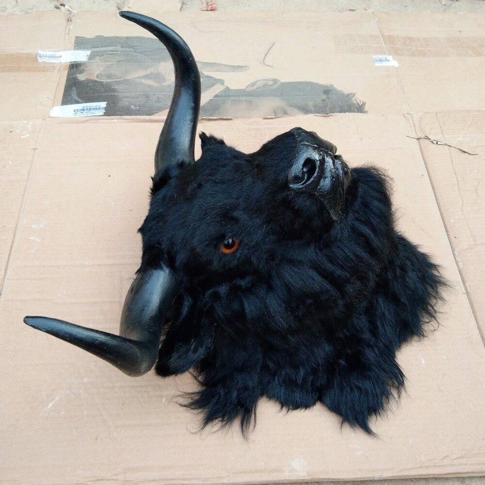 Symulacja yak głowy duży 36x34cm twardy model polietylenu i futra czarny yak ścienne wisiorek rękodzieło prezent do dekoracji domu s2654 w Pluszowe zwierzęta od Zabawki i hobby na  Grupa 2