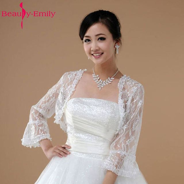 Fashion Long Sleeve Lace Bridal Jackets Shawl Wraps Bolero White Jacket Wedding Shawls