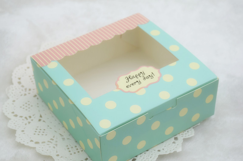 30 Clear Window Blue Dots Cupcake Box For Bakery Gift