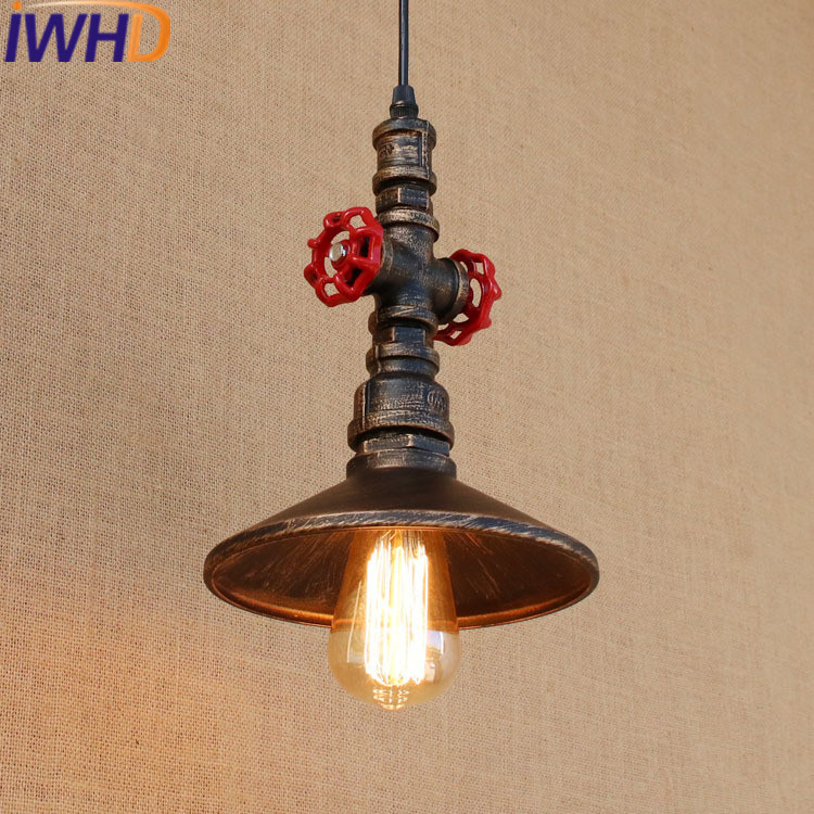 IWHD Water Pipe Retro Lamp Pendant Lights Loft Industrial Vintage Hanging Lights Bedroom Iron Retro Light Home Lighting Fixtures retro pendant lamp nordic industrial loft iron pipe pendant light hanging lamp decorative lighting e27 edison bulb 4 head wpl203