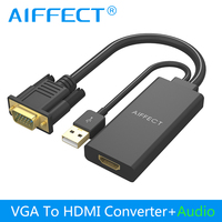 AIFFECT VGA To HDMI Converter Cable Adapter Audio 1080P 2K VGA HDMI Adapter Oxygen Free Copper