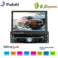 Podofo 10,1 1 din Android мультимедийный плеер Wi Fi автомобиля Радио Стерео gps навигации Авто универсальный CD/DVD FM AM USB