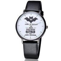 BAOSAILI Nouvelle Personnalité Batman Superman Étanche Quartz Montre Simple Bracelet En Cuir Dames Regarder Amateurs Regardent Étudiant Montre
