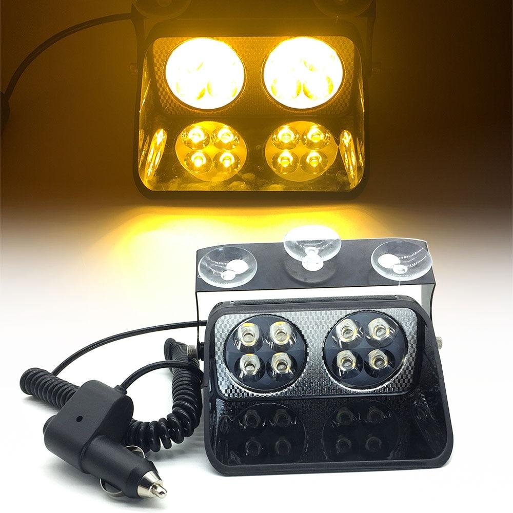 24W 8 LED Car Strobe Light S8 Viper Car Windshield Flash Signal Emergency Fireman Police Beacon Warning Light Red Blue Amber 12V