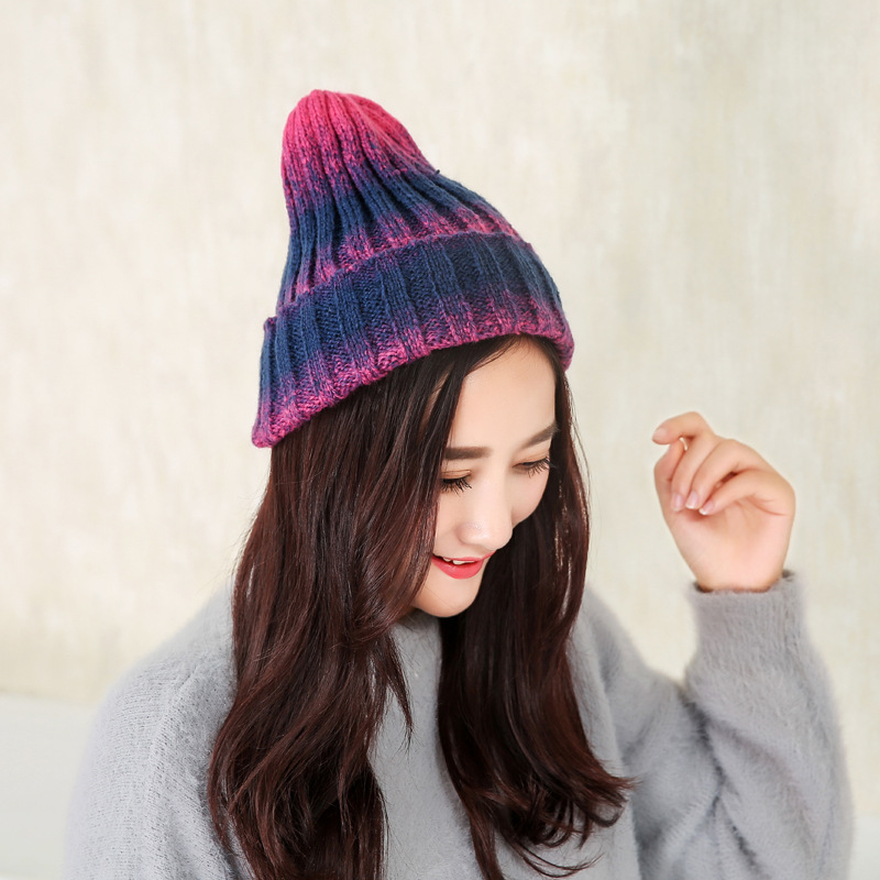 Women Hats Knitting Wool   Skullies     Beanies   Casual Warm Hat Women Autumn Winter Cute Gradient Ramp Hat Female knit Winter Cap