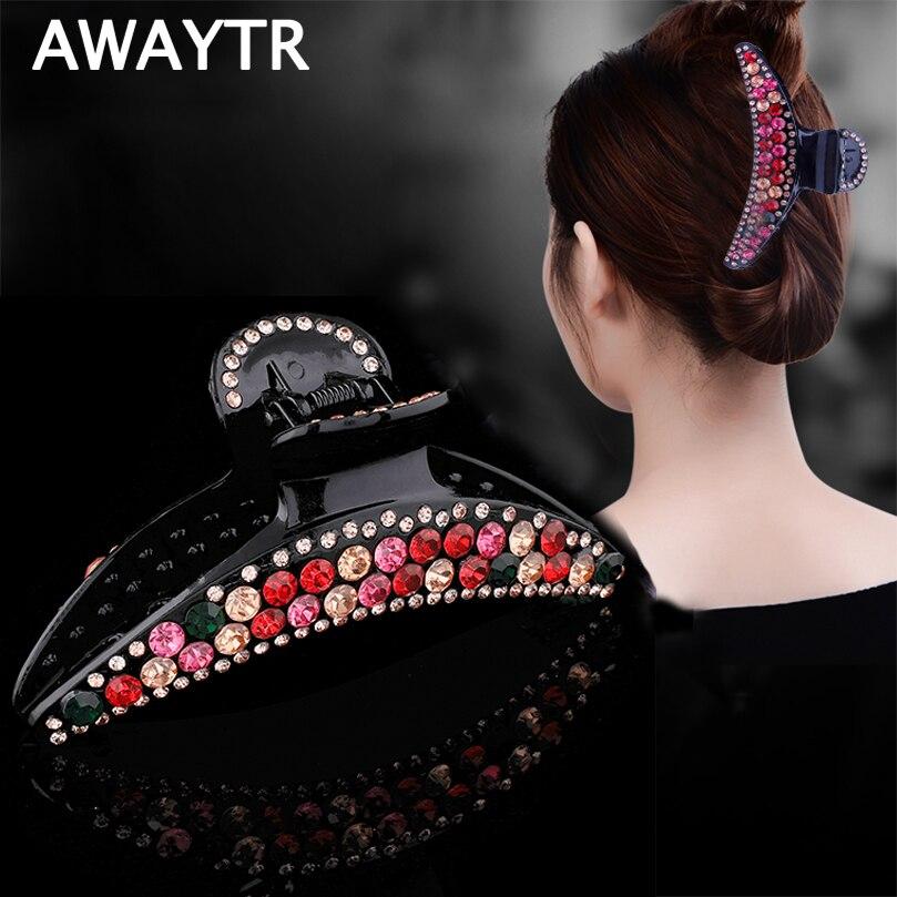 AWAYTR Korean Large Drill Plate Hair Clips For Women Rhinestone Simple Hairpin Hair Claws Ladies Gift Women Hair Accessories