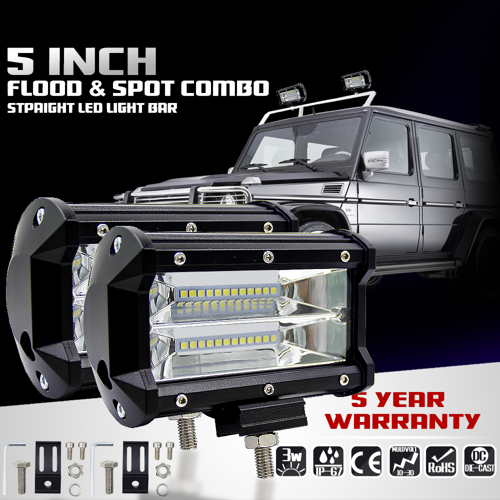 5 inch 72W Motorcycle Car Fog Lamp Work Light Led 4x4 the Searchlight Bar for Boats ATV UTV SUV 4WD Truck Offroad Vehicle