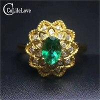 Старинные серебряные Изумрудное кольцо хорошее цвет натуральный Si класса изумруд серебряное кольцо colorfast твердой 925 Изумрудное кольцо рома...