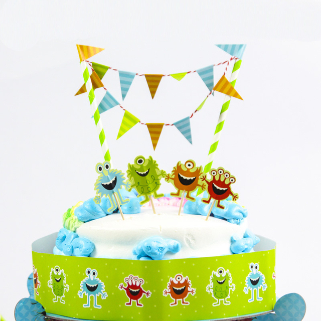 Free Shipping Little Monster Birthday Cake Topper Birthday Party