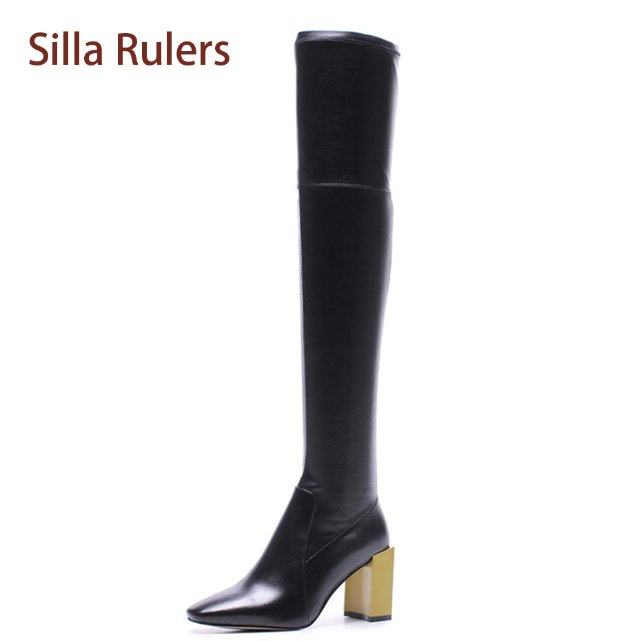 Silla Rulers Fashion 2017 Black Leather Bota Slip On Over The Knee Women Booties Square Toe Stacked Block Heel Thigh High Boots women black leather thigh high boots ladies square heel round toe zip over knee high boots autumn fashion motorcycle booties