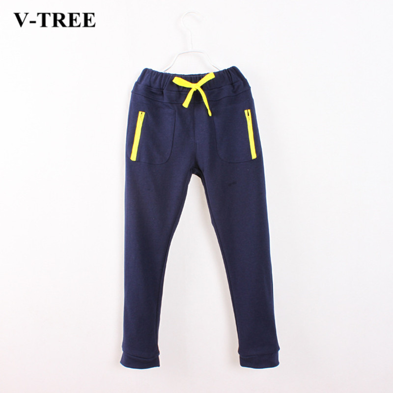 V-TREE Children Pants Terry Boys Sport Pants Running Cotton Trousers For Teenager 6-14 Years Boy Pants Baggy pants cavagan pants href page 6