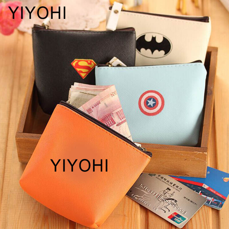 New Cartoon Batman Superman Students Coin Purse Children PU Zipper Change Purse Women Men's Mini Wallet Key Card Bag Kids Gift 2017creative cute cartoon coin purse key chain for girls pu leather icecream cake popcorn kids zipper change wallet card holder