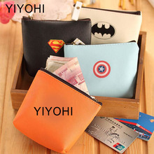 New Cartoon Batman Superman Students Coin Purse Children PU Zipper Change Purse Women Men's Mini Wallet Key Card Bag Kids Gift
