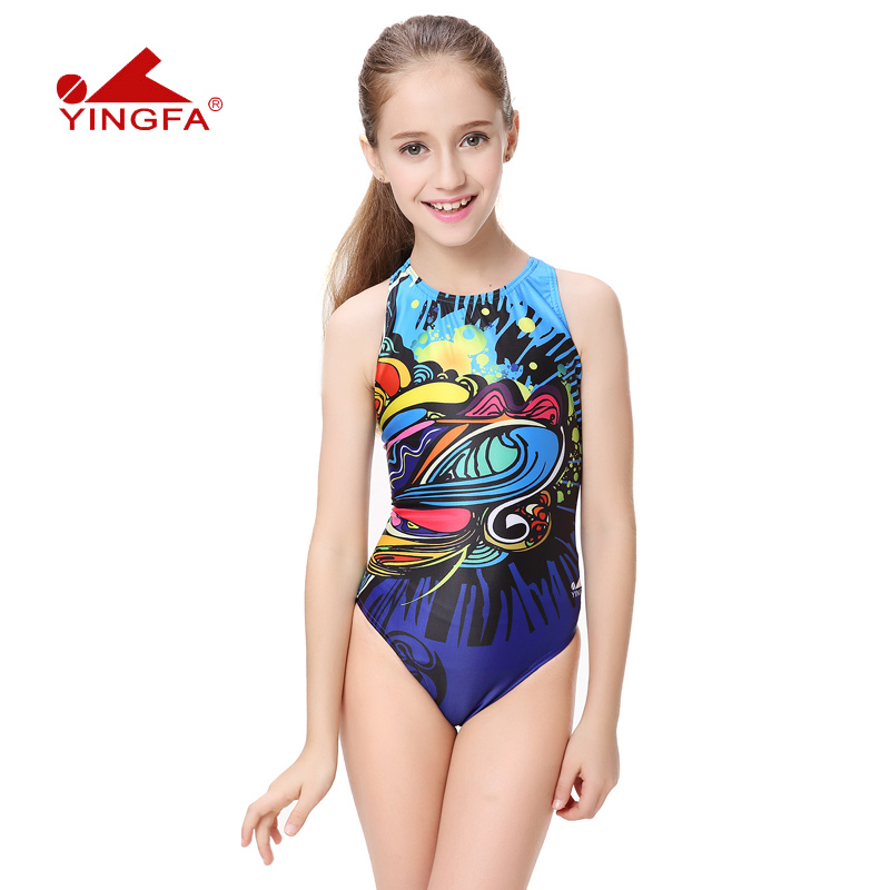 992086e6f7 yingfa children girls swimwear kids one piece professional bathing suits  racing competition tights printed lady swimming suits