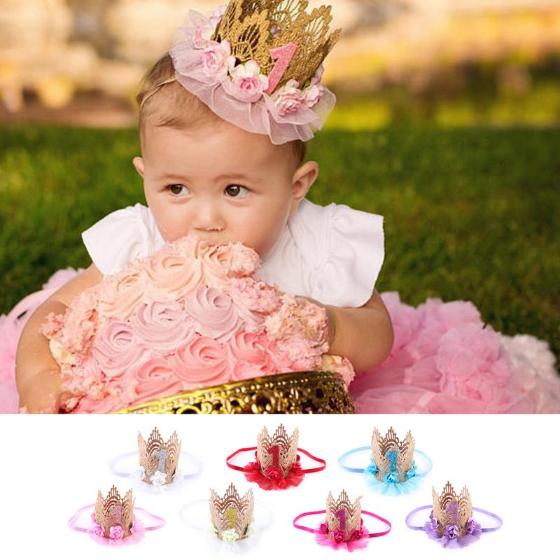 Baby Girl First Birthday Party Tiaras Flower Crown Headband 1 Year Number Priness Style Birthday Hat Baby Girls Hair Accessory