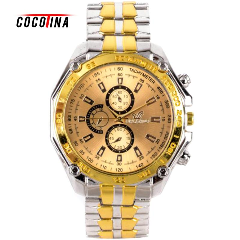 COCOTINA Fashion Watch Men's Luxury Gold Dial Stainless Steel Band Analog Quartz Wrist Watch Mens Watches Top Brand Luxury Watch smileomg mens gold watches diamond dial gold steel analog quartz wrist watch christmas gift free shipping sep 8
