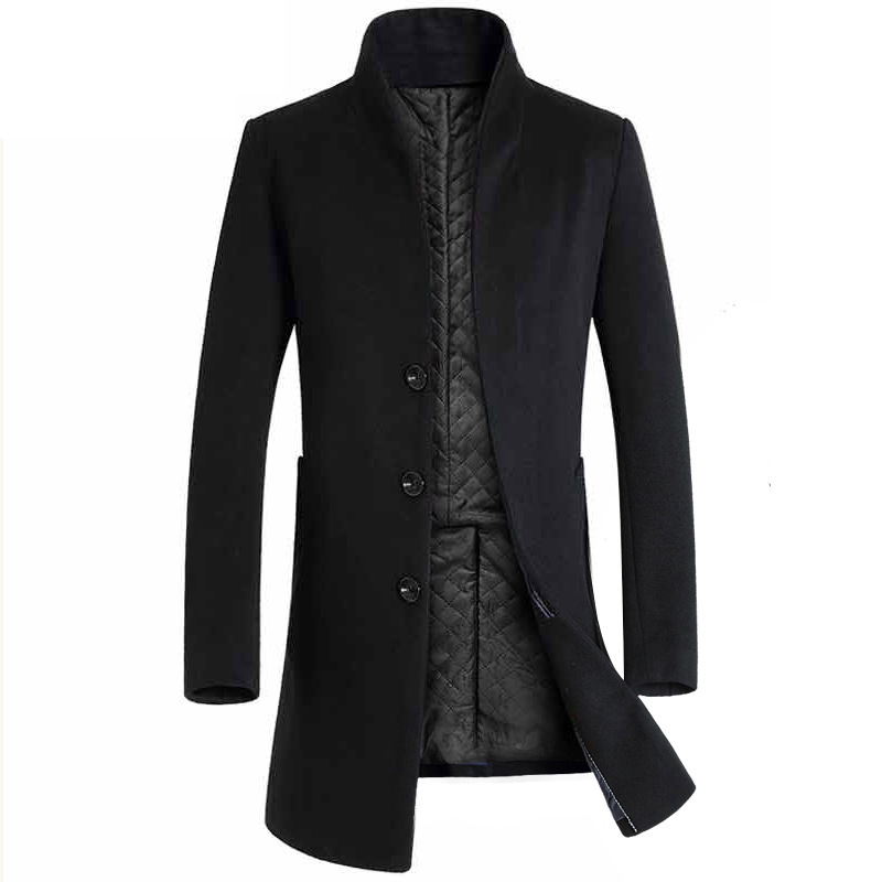 Top-Coat Trench Woolen Long Winter Fashion Gift Body-Trim Foreign Trade Hot-Sale Men