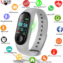 LIGE Smart Sport Watch men Waterproof Fitness Bracelet Blood Pressure Heart RateMonitor Pedometer For Android iOS