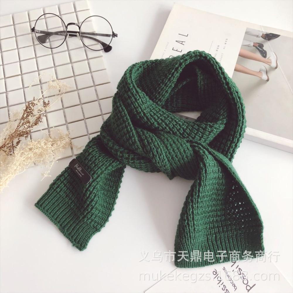 Autumn Winter Designer Brand Kids Scarf Red Green Knit Warm Scarves Soft Skin Long Muffler Children's Scarf Collar Boy & Girl