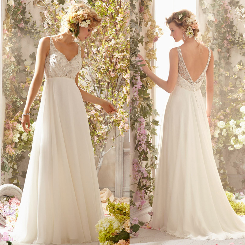 New arrival heavy beaded bodice backless flowy bridal gown for Backless beach wedding dresses