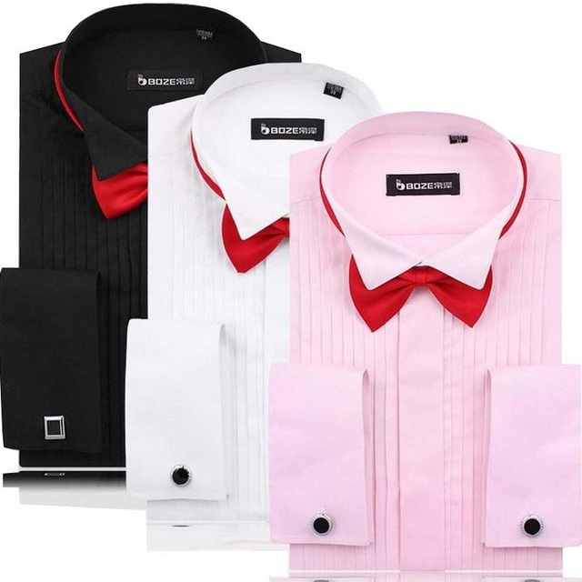Vestido de los hombres Camisas de Puño Francés de Color Rosa/Blanco/Negro de Manga Larga Camisa Casual de Negocios de Slim Fit Color Sólido Camisa de Las Mancuernas francés