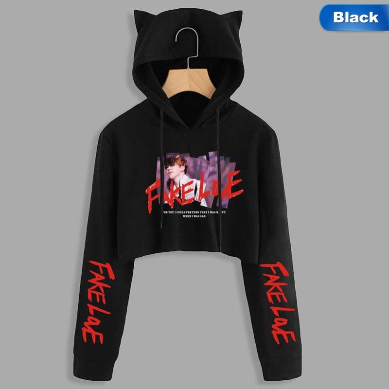 BTS Album Love Yourself Tear Fake Love Kpop Long Sleeve Cropped Hoodies Sweatshirt Women Cat Hooded Pullover Crop Tops Clothes