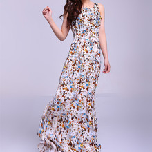 Vintage fashion national trend print o-neck slim long design expansion medium-long bottom one-piece dress beach dress