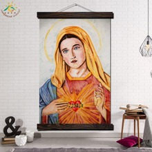 Sacred Heart of Mary Modern Wall Art Print Pop Picture And Poster Framed Hanging Scroll Canvas Painting Home Decor Madonna