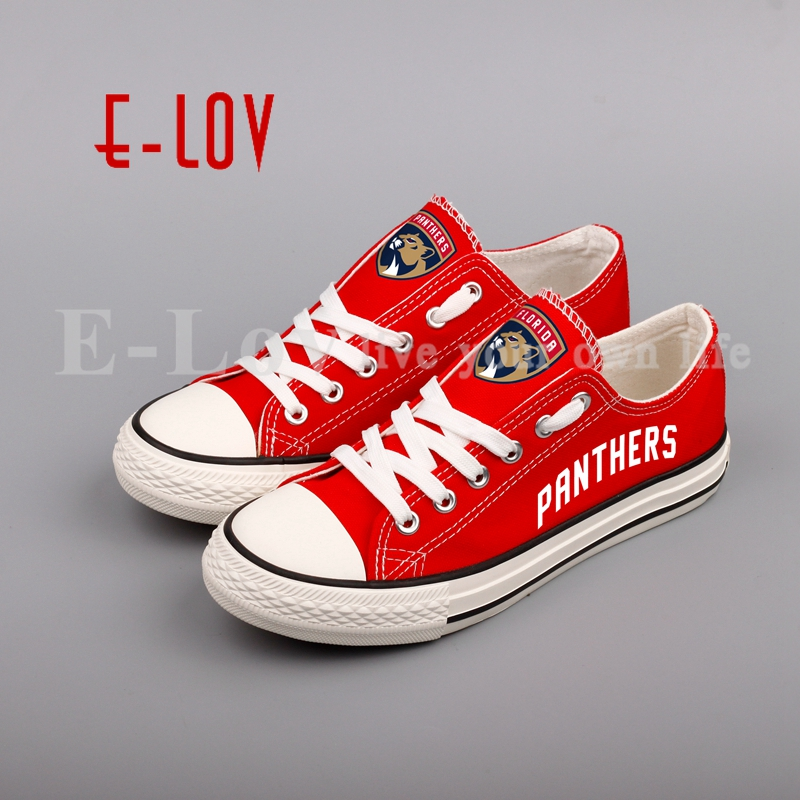 E-LOV Ice Hockey Fans Print Canvas Shoes NHL Customization Casual Shoes Low Top Lace Flat Shoes Woman Girls Gift mexx ice touch woman
