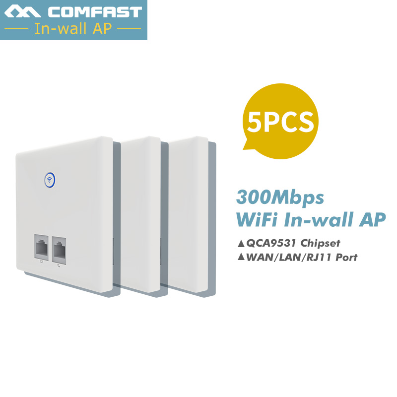 5Pcs COMFAST CF-E535N IN Wall Embedded Wireless AP Router 300M QCA9531 Wall WIFI Routeur Panel Socket 802.11n hotel in-wall ap все цены